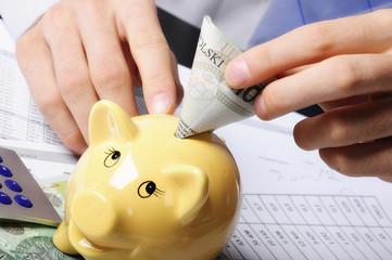oszczędności wkładane do skarbonki