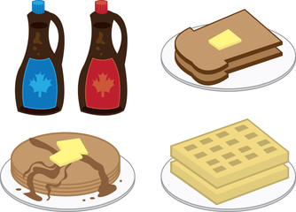 Breakfast foods including waffles, pancakes and toast