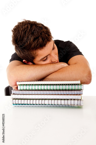 Male student fallen asleep