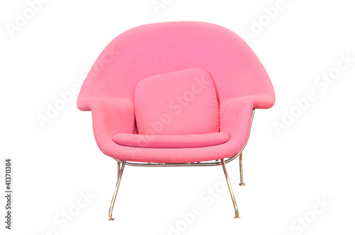 stylish pink chair isolated on white background