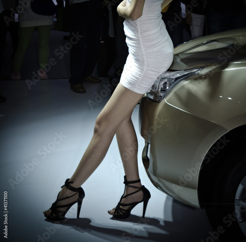 unidentified model with car