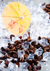 Coffee beans and ice cubes