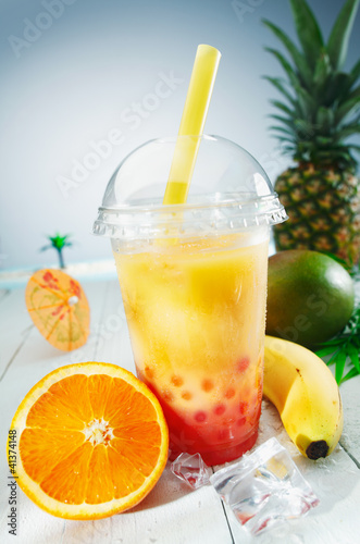 Healthy bubble tea tropical smoothie