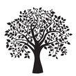 Leinwanddruck Bild - black tree silhouette isolated on white background