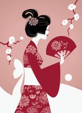 Sylwetka dziewczyny japoński