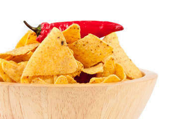 Pepper upon a bowl full of crisps