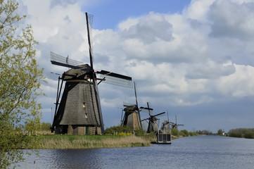 windmills row at kinderdijk, netherlands
