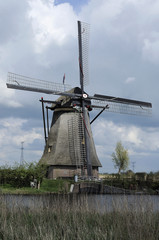 windmill in spring, kinderdijk, netherlands