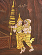 Love scene, Mural painting in Thai royal temple