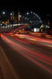 Galata bridge with car light trails