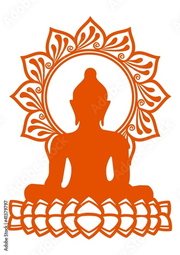 Buddha - Meditation - Vektor - einfarbig