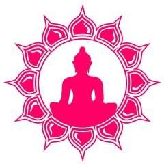 Lotus Blüte - Buddha - Meditation - Vektor - einfarbig