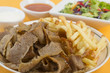 Donner Meat & Chips with chili sauce, garlic mayo & salad