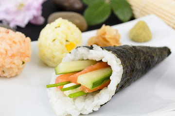 Temaki - Japanese hand rolled sushi with salmon & cucumber