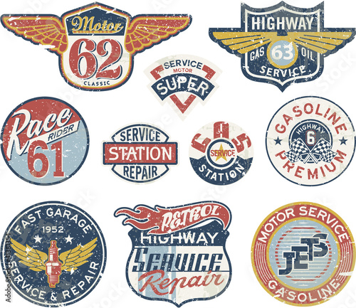Gasoline station vintage vector badges