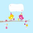 2 Birds Gifts Tree Speech Bubble Yellow/Pink Blue