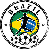 Stamp with football and name Brazil, vector illustration