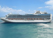 Luxury cruise ship sails away at sunny day