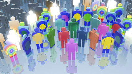 Social network world map animation, 3d