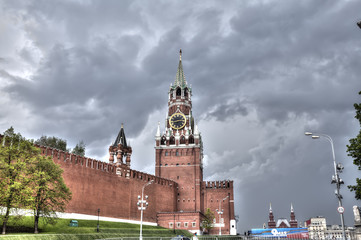 View of the Moscow Kremlin before the storm