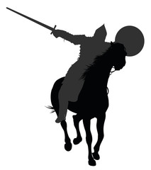 Warrior  with sword  on horseback. Vector silhouette