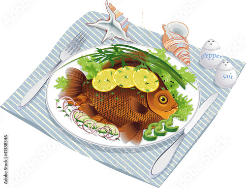 Baked fish with vegetables on a plate
