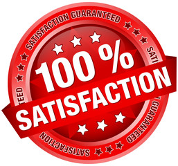 """Button Banner """"100 % Satisfaction"""" Red"""