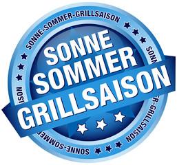 """Button Banner """"Sonne-Sommer-Grillsaison"""" blau"""