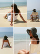 Montage of a serene woman on a beach