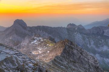 mountain panorama at sunset from Saentis