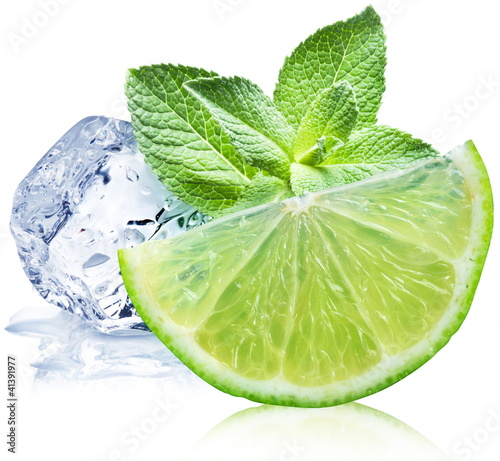 Lime, mint and ice cube