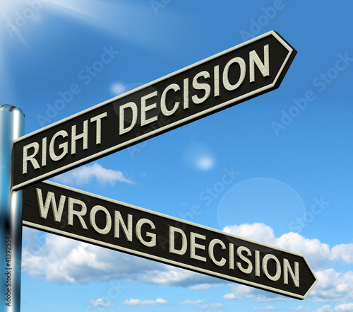Right Or Wrong Decision Signpost Showing Confusion Outcome And C