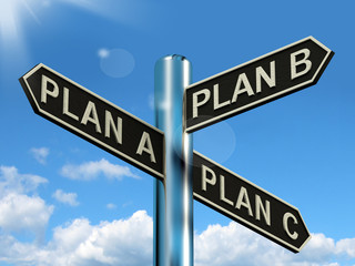 Plan A B or C Choice Showing Strategy Change Or Dilemma