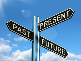 Past Present And Future Signpost Showing Evolution Destiny Or Ag
