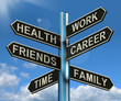 Health Work Career Friends Signpost Showing Life And Lifestyle B