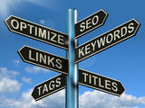 Seo Optimize Keywords Links Signpost Shows Website Marketing Opt