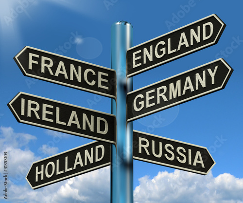 England France Germany Ireland Signpost Showing Europe Travel To