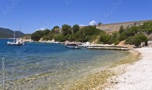 Scenic beach at Ithaki island in Greece