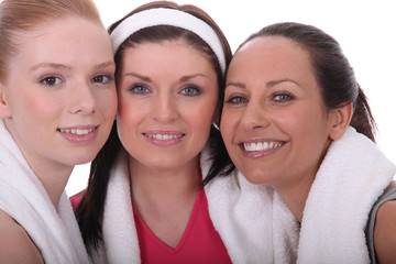 Three woman dressed in gym wear