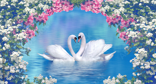 Two swans framed with blooming flowers