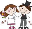 Cartoon-Zeichnung: Fröhliches Hochzeitspaar