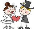 Cartoon-Zeichnung: Witziges Brautpaar mit Herz
