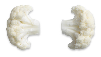 a pair of  cauliflower ears isolated on white with path