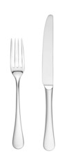 overhead knife and fork isolated on white with paths