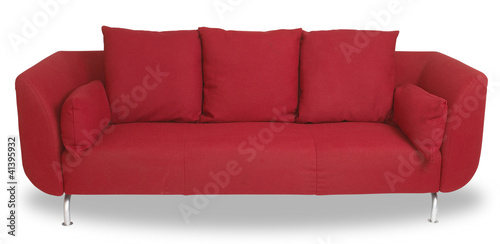 comfy red couch sofa isolated on white with clipping path
