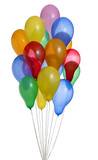 bunch of colorful helium balloons with clipping path 4