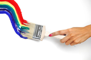 rainbow paint on the white wall