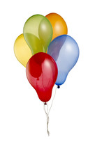 bunch of colorful helium balloons with clipping path 3