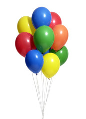 bunch of colorful balloons with clipping path