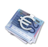 silver euro money clip  and folded euros with clipping path